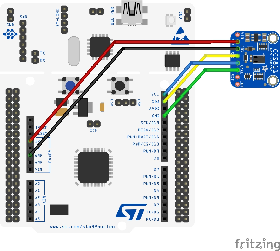stm32 nucleo and ccs811 sensor